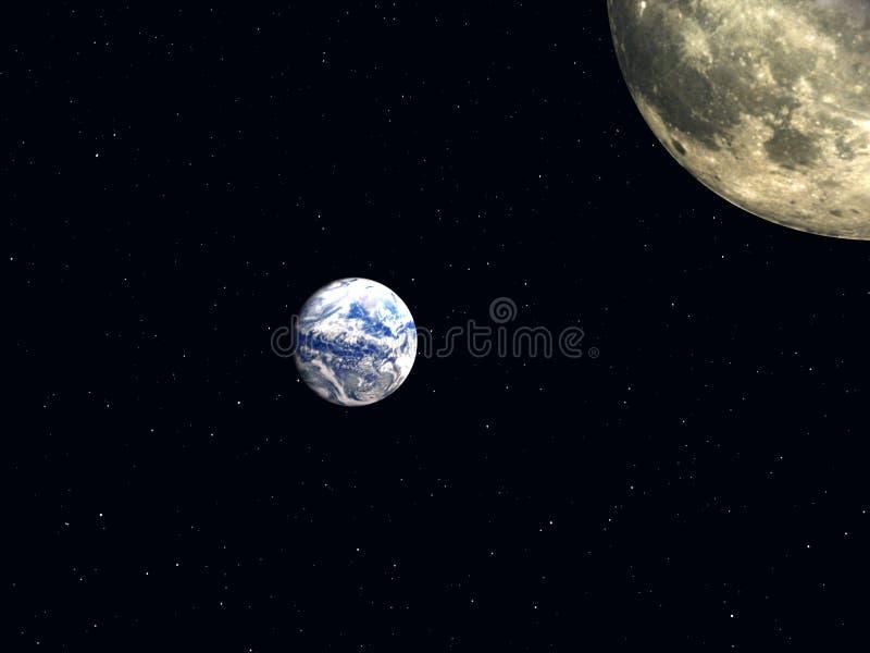 Moon och jord royaltyfri illustrationer