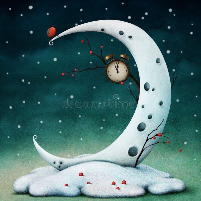 Moon och timmar vektor illustrationer