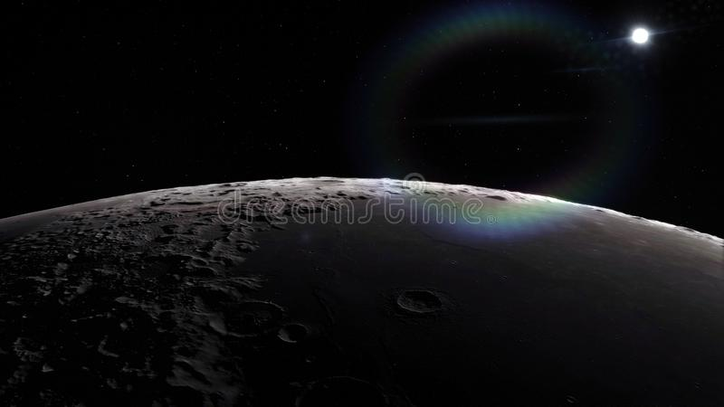Moon in outer space, surface. High quality, resolution, 4k. This image elements furnished by nasa.  stock illustration