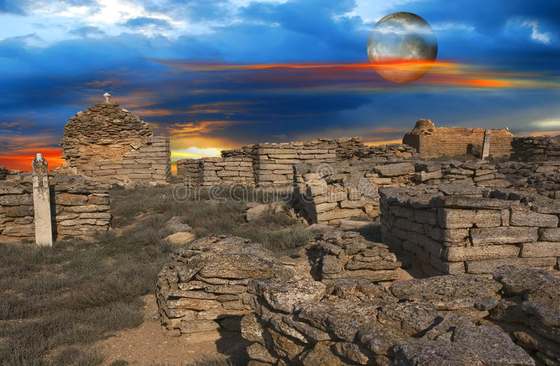 Moon over of the ancient Muslim cemetery stock image