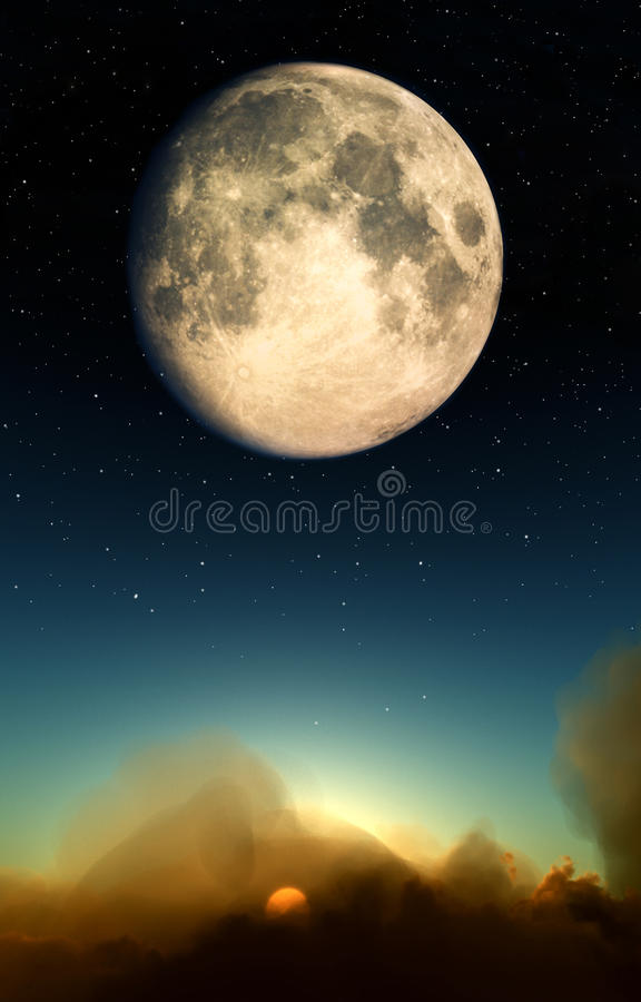 Moon Over Clouds Stock Photography