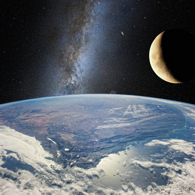 Moon over the earth, on the background of milky Way. Elements of this image furnished by NASA stock illustration