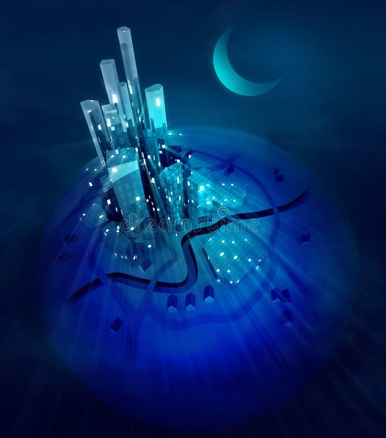 Moon over futuristic modern city lights at night royalty free illustration