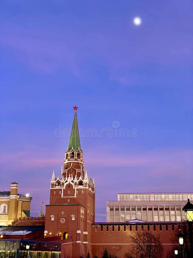 Moon over the Kremlin stock photo