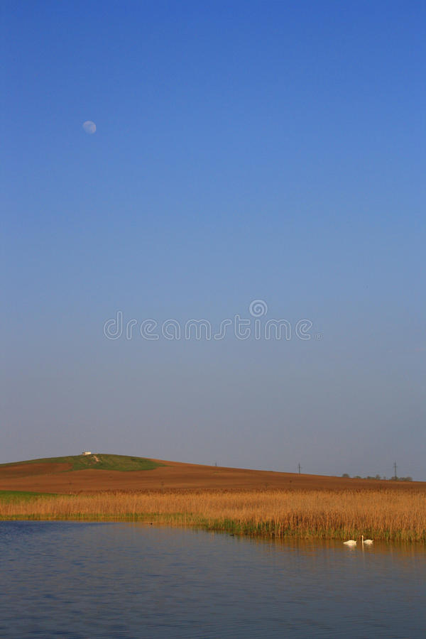 Download Moon over the lake stock image. Image of landscape, lake - 22278651