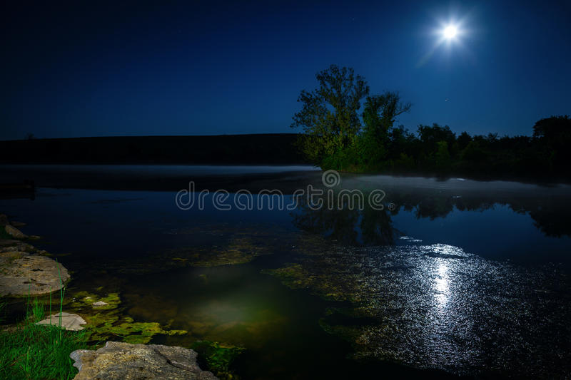 Download Moon over lake stock image. Image of moon, reflections - 32672951