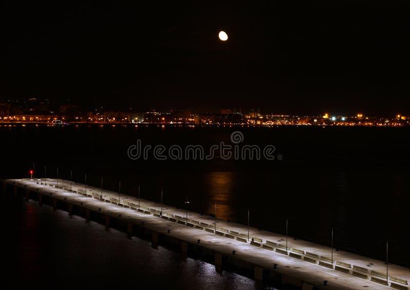 Download Moon over Mallorca stock photo. Image of dark, moon, pier - 34762102