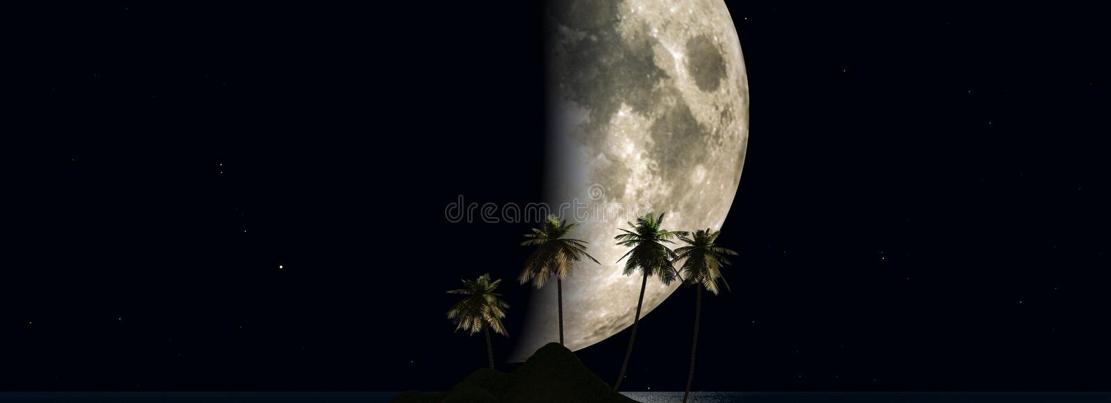 Download Moon over ocean stock illustration. Image of generated - 503746