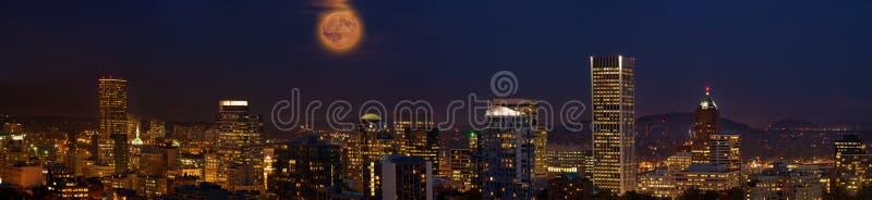 Moon Over Portland Oregon City Skyline at Dusk royalty free stock images