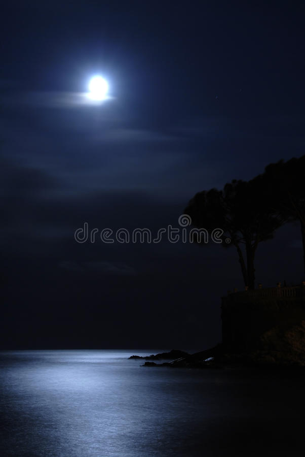 Download Moon over the sea stock photo. Image of blue, midnight - 12608144