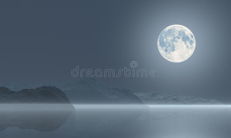 Download The moon over the sea stock illustration. Illustration of night - 26527434