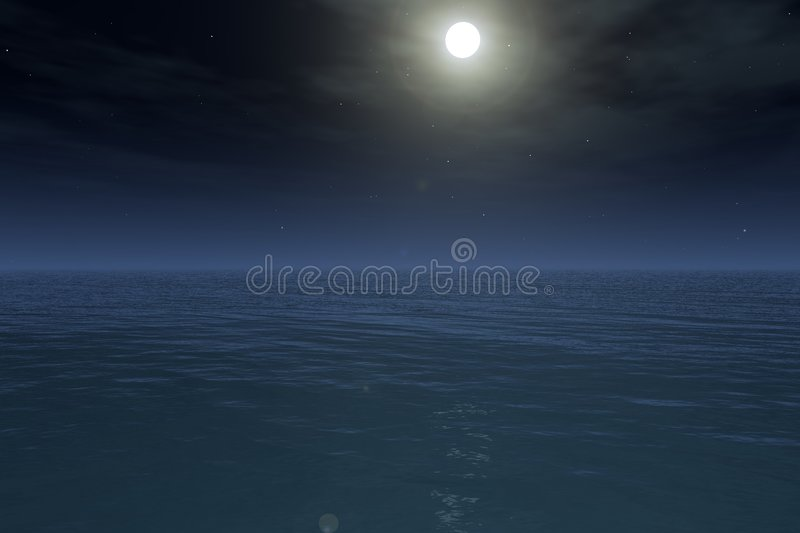 Moon Over The Sea Royalty Free Stock Image