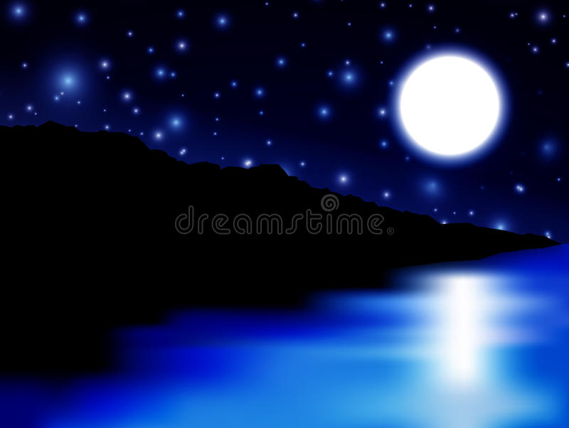 Download Moon over sea and island stock illustration. Image of bright - 25200212