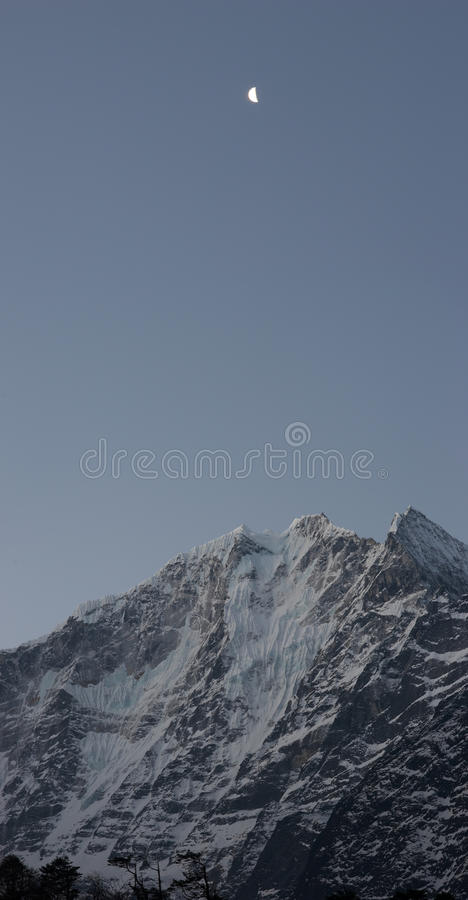 Download Moon Over Snow Mountain, Himalayas, Nepal Stock Image - Image: 10568767