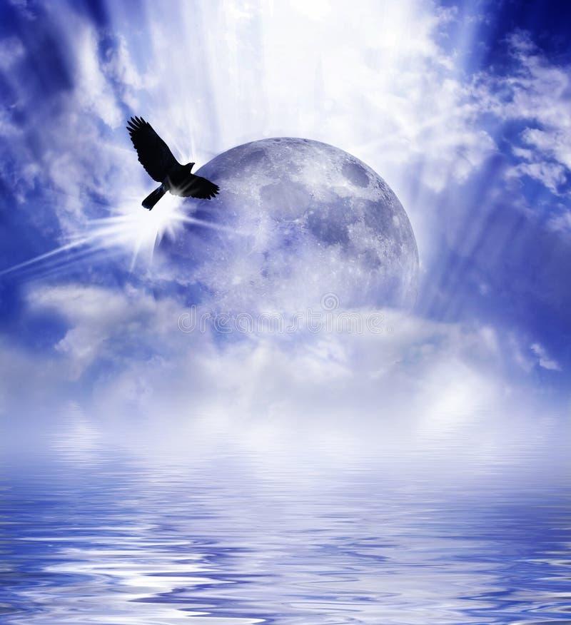 Moon over water stock photos