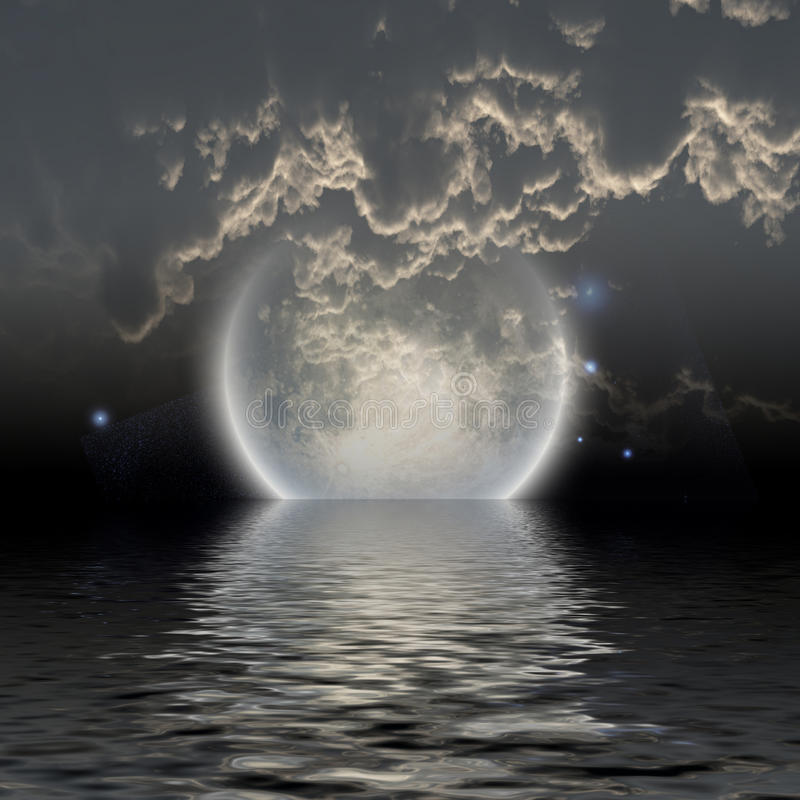 Moon over water royalty free illustration