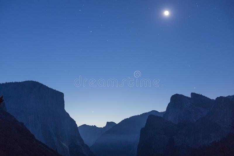 Moon Over Yosemite Valley as Seen from Tunnel View stock photo