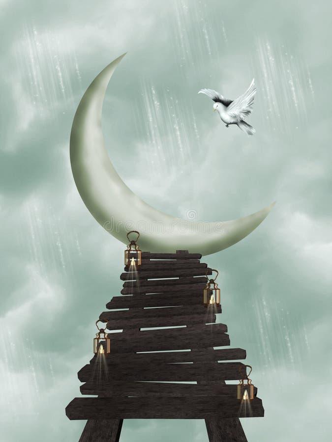 Download Moon path stock illustration. Image of wood, fairytale - 5596498