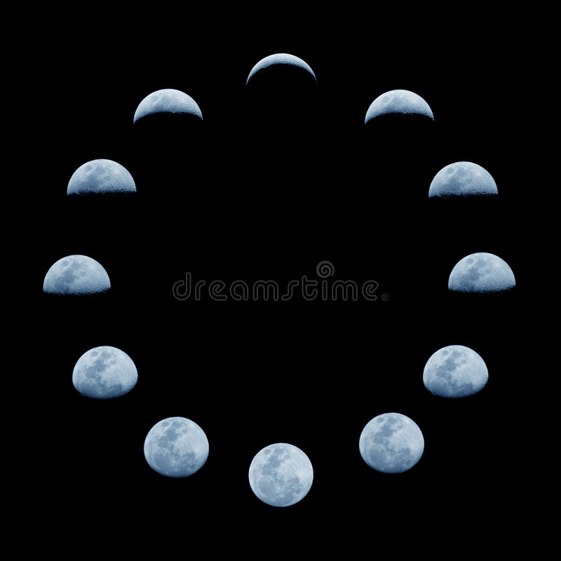 Moon phases. Moon phase change during one month orbiting the Earth stock images