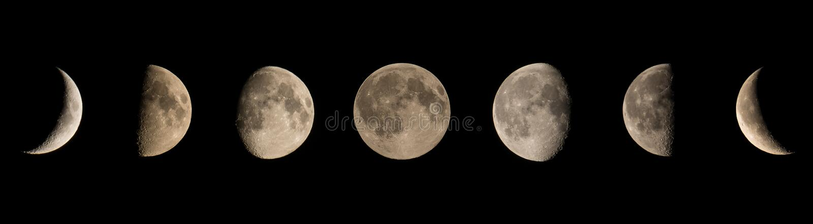 Moon phases. From black moon to black moon stock photography