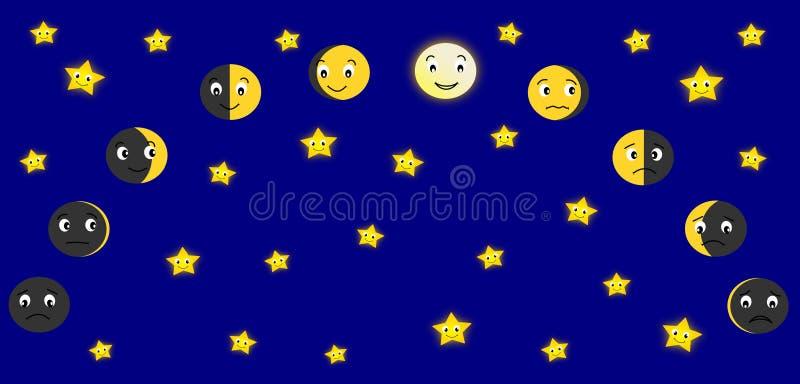 Moon Calendar Illustration : Moon phases stock illustration of night