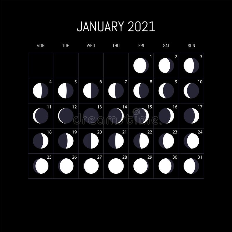 Lunar Calendar January 2022.Moon Phase Calendar Stock Illustrations 926 Moon Phase Calendar Stock Illustrations Vectors Clipart Dreamstime