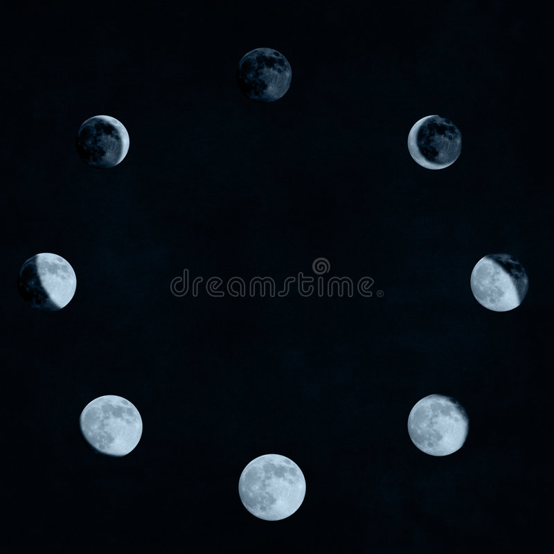 Moon phases collage royalty free illustration