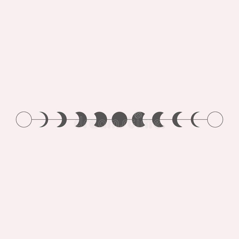 Moon phases icon, border, vector illustration in boho style stock illustration