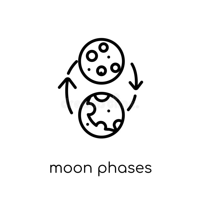moon phases icon. Trendy modern flat linear vector moon phases i royalty free illustration