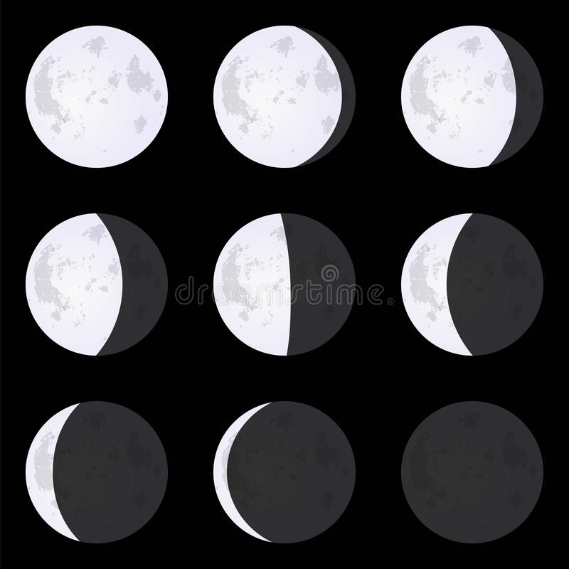 Moon Phases: new moon, full moon, crescent. Set of vector illustrations isolated on a black background. vector illustration