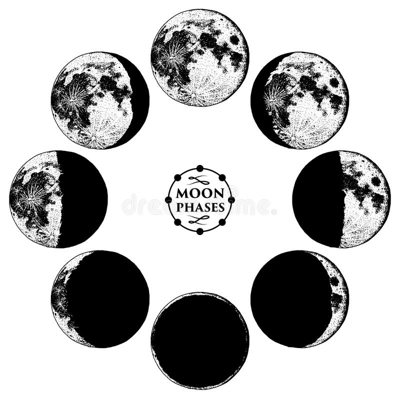 Moon phases planets in solar system. astrology or astronomical galaxy space. orbit or circle. engraved hand drawn in old. Sketch, vintage style for label royalty free illustration