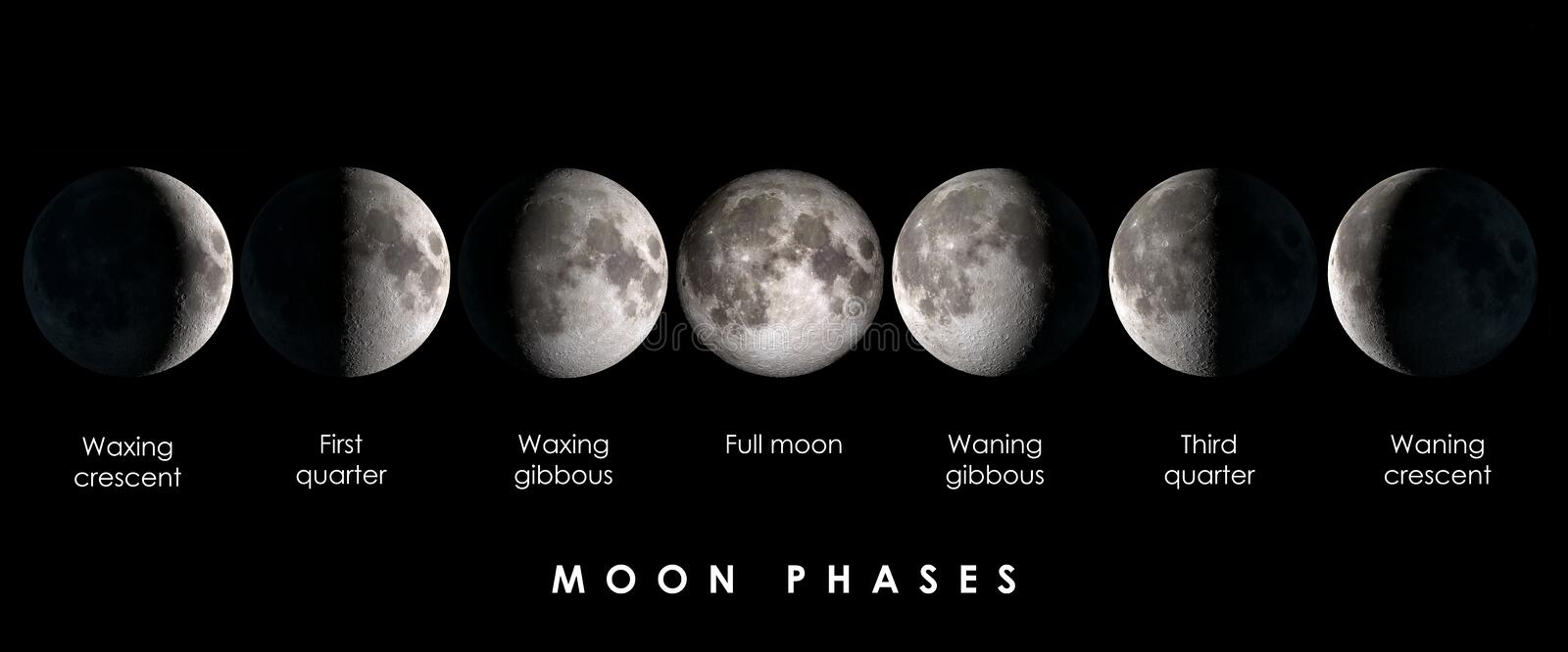 Moon phases with text stock images
