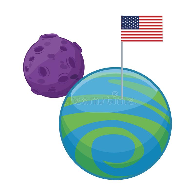 Moon and planet with american flag. Over white background, vector illustration stock illustration