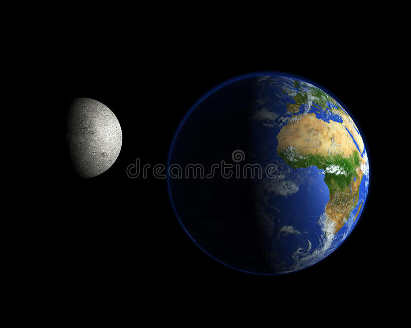 Moon and planet Earth in space. With black background showing night and day stock photo