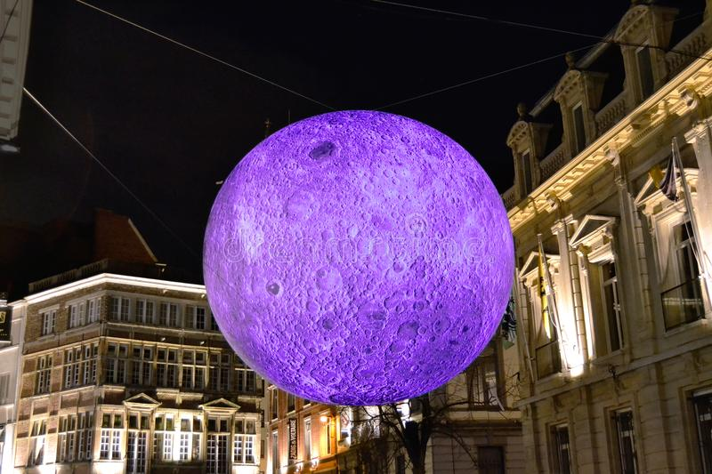 Moon projection during laser show in Ghent stock photo