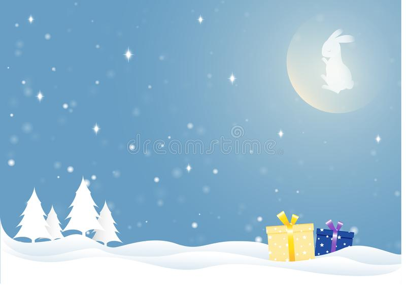 The moon rabbit in winter season. The moon rabbit in winter season with star, snowflakes and Pine tree. Vector design elements for Christmas and New Year vector illustration