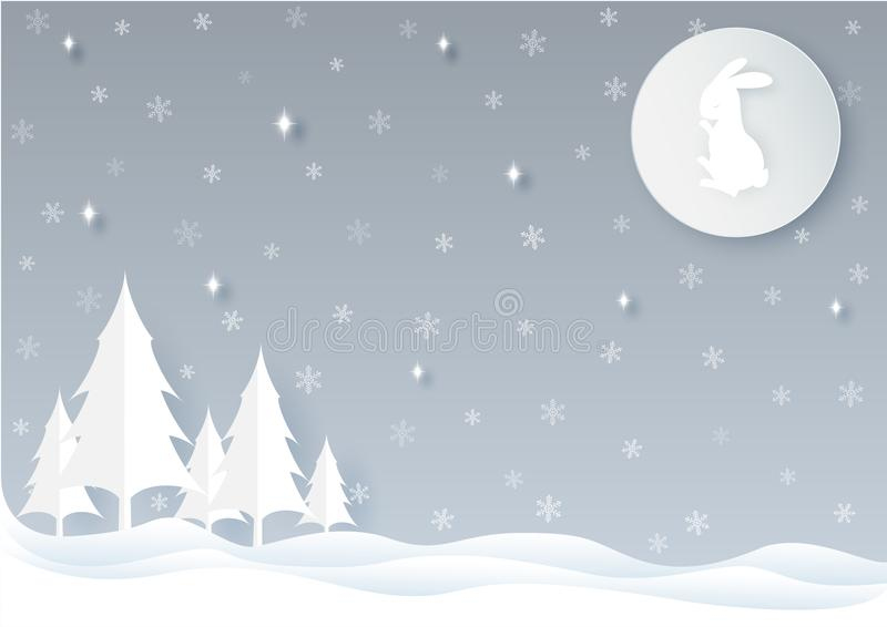 The moon rabbit in winter season. The moon rabbit in winter season with star, snowflakes and Pine tree. Vector design elements for Christmas and New Year stock illustration