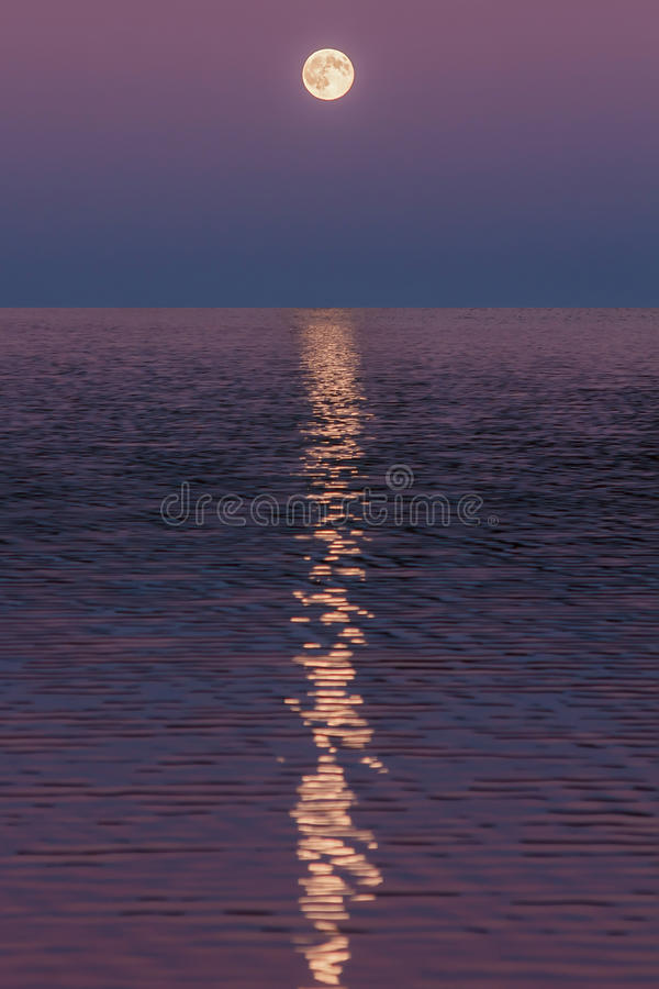 Moon reflected on water. Beautiful nature landscape stock images
