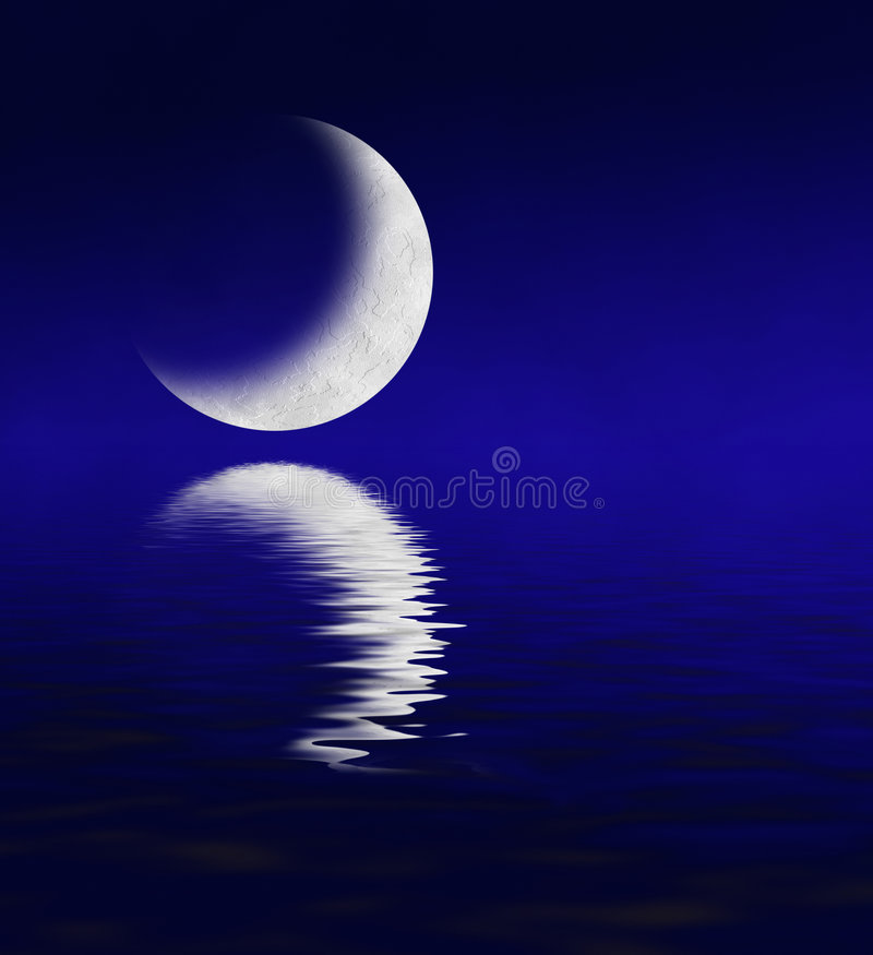 Moon Reflecting in Water stock illustration