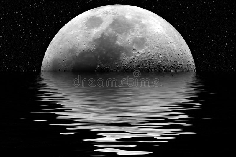 Moon reflection vector illustration