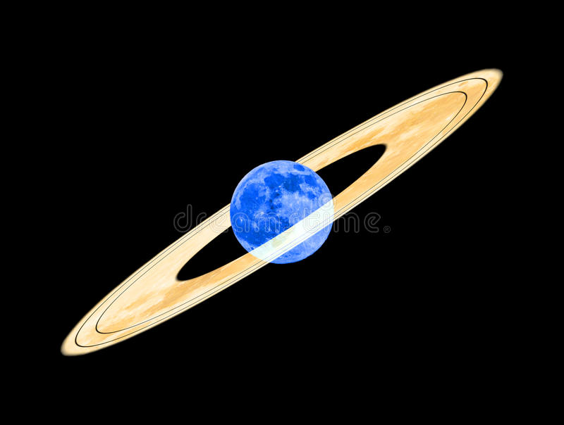 Moon with rings. The moon is surrounded by several rings royalty free stock photos