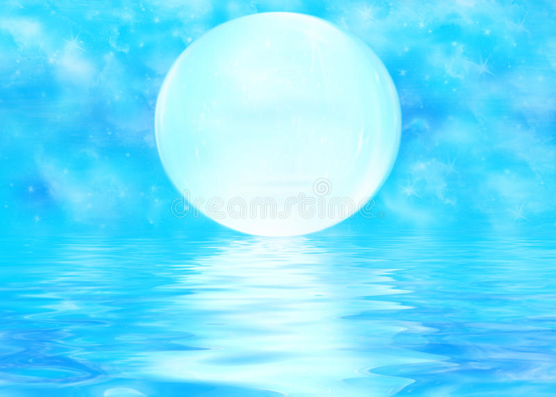 Moon and rippled water. Illustration of large full moon reflecting on rippled blue water royalty free illustration