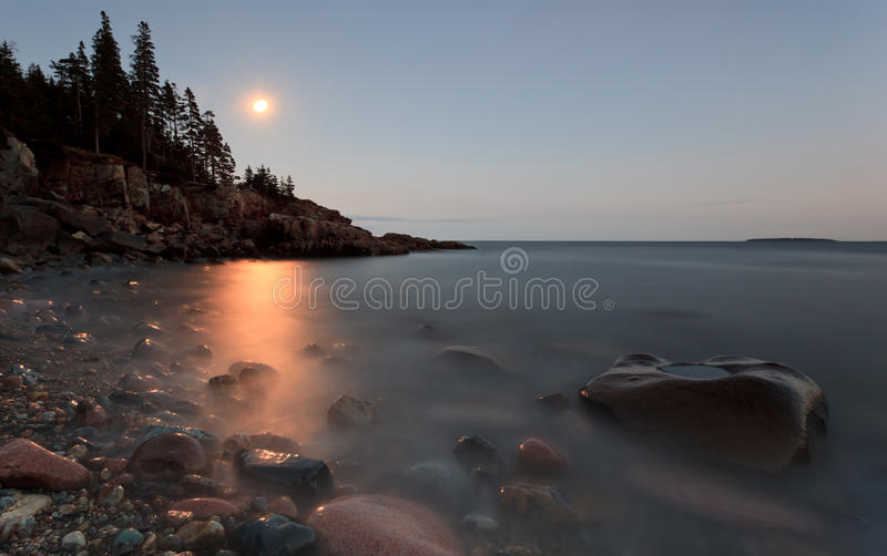 Moon Rise. Over acadia national park, otter point area royalty free stock photo