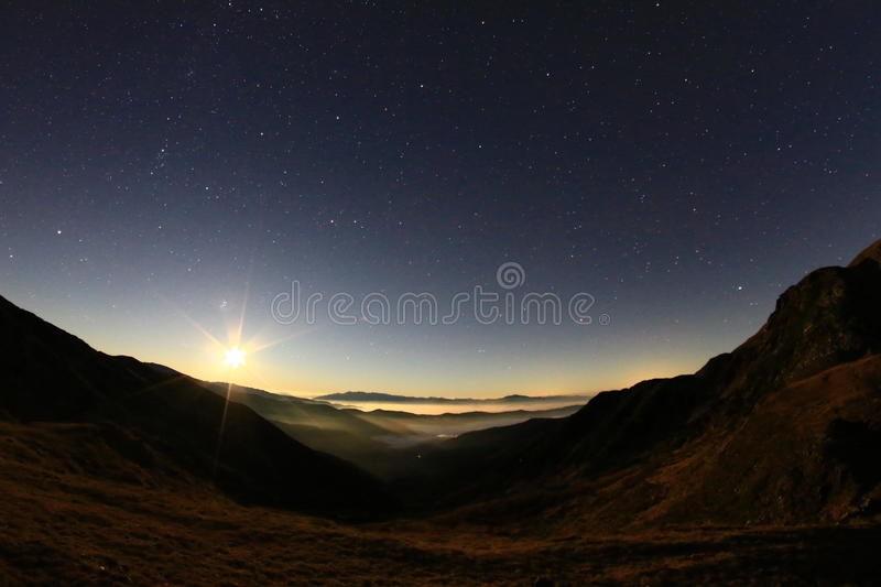 Moon Rise. Beautiful moon rise seen from Iezer Mountains stock photos