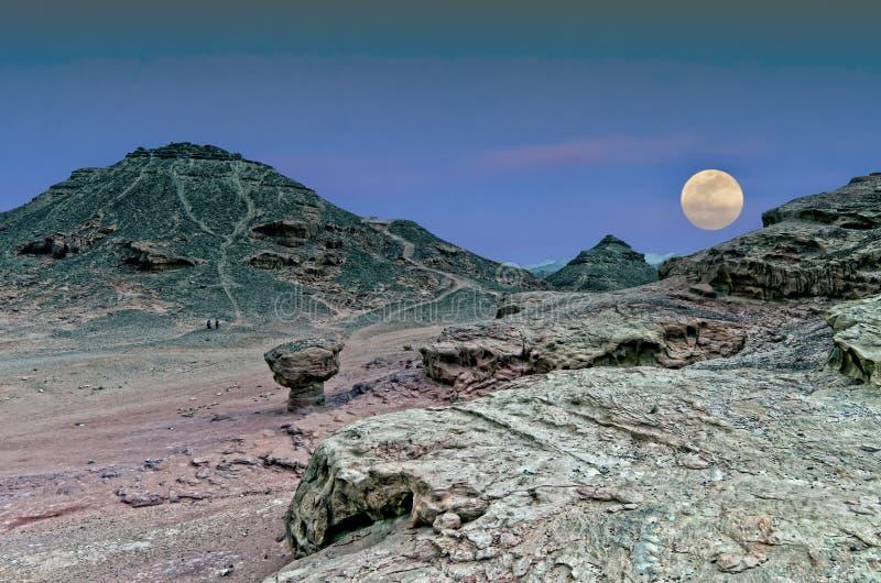 Moon rise in desert, Israel stock photo