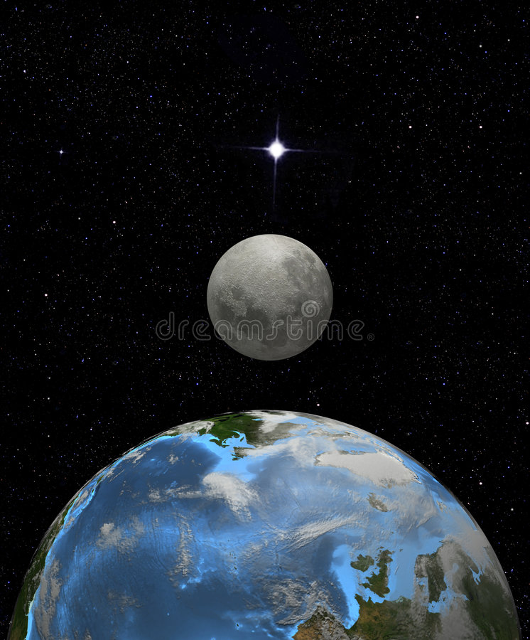 Download Moon Rise In Earth Space Stock Photos - Image: 3089423