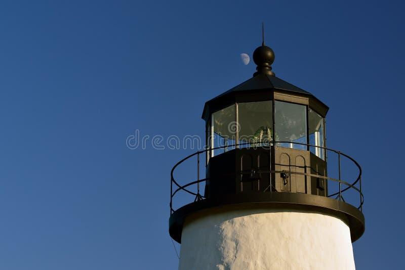 Moon rise over a historic New england Lighthouse. Moon rise over the famous Pemaquid Lighthouse on the New England Coast stock photos