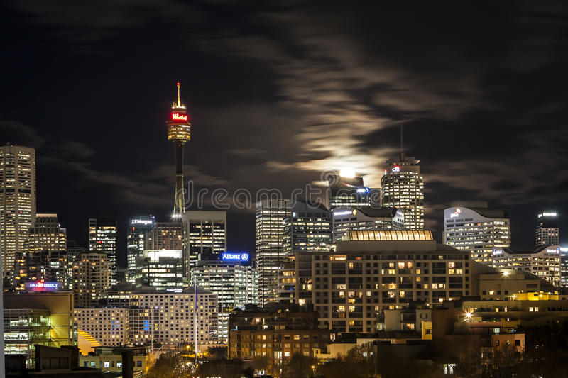 Download Moon rise over Sydney editorial photography. Image of moon - 33808097