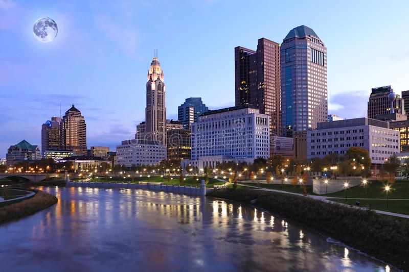 Moon rising over Columbus, Ohio royalty free stock images