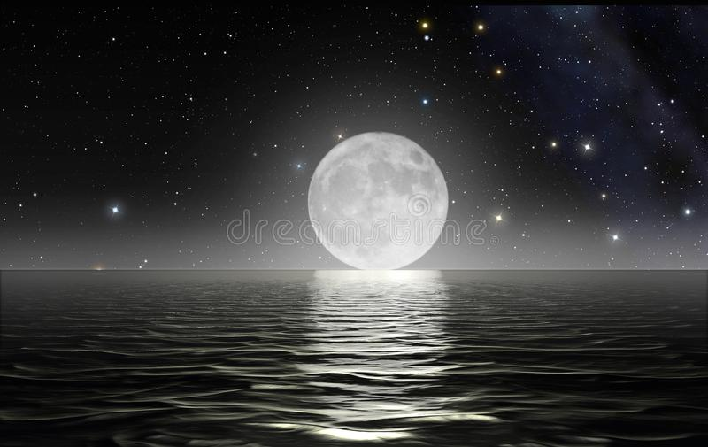 Moon rising over the ocean. Surface with starry sky in the background royalty free illustration